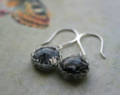 Hand Knitted Silver Earrings, Black Rutilated Quartz in Sterling Silver Viking Knit, Wire Knitting, Hammered Ear Wires
