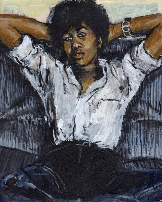 Original Painting - 'Joan Armatrading' (1978) by Peter Mack