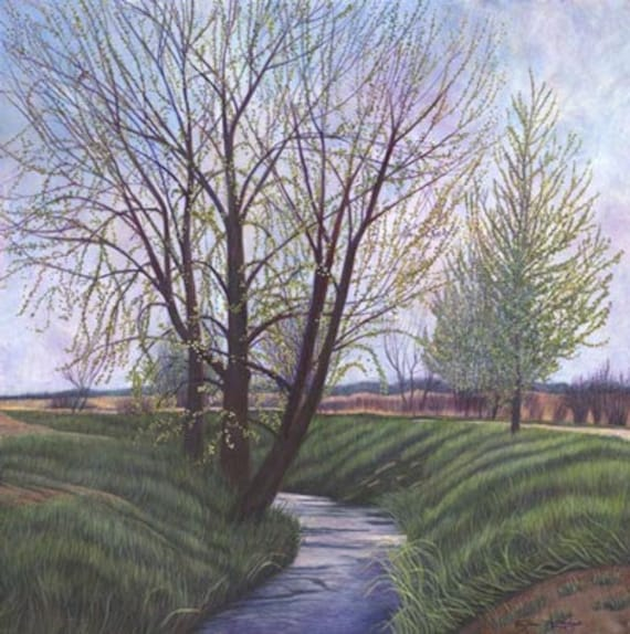 Spring at Pella Crossing (Landscape) Painting - Museum Quality Limited Edition Print on Paper with Archival Inks
