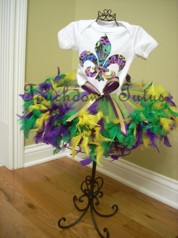 Mardi Gras Tutu Outfit With Feathers By Touchdowntutus On Etsy