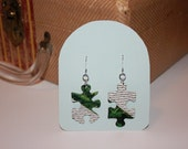 Recycled Puzzle Piece Earrings / Upcycled Jewelry / Black, White & Green