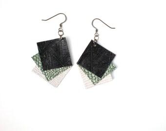 Fan Shape Earrings / Upcycled Vinyl / Handmade Jewelry / Gift for Her