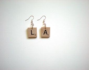 Scrabble Tile Earrings / Custom Initials / Cities