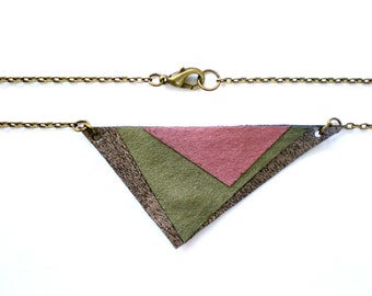 Triangle Pendant Necklace / Geometric Jewelry / Statement Necklace