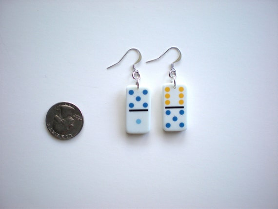 Small Domino Earrings / Recycled Game Piece / OOAK Jewelry