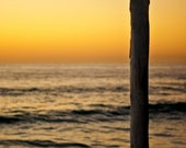Beach Photograph - Sunset, San Diego, Yellow, Old, Wooden, Post, Print, Ocean, Waves, Fine Art Photography, Windansea, California, 8x12