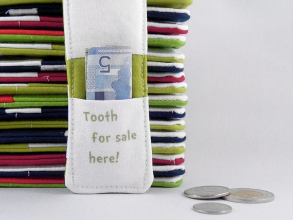 Tooth Fairy Pillow - Boy or Girl - Dr SEUSS Inspired - Stocking Stuffer - Birthday Party Favor - Birthday Gift - Tooth For Sale Here GREEN