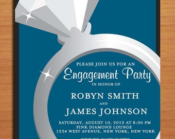 Engagement Ring / Blue and Charcoal Classy Engagement Party Customized Printable Invitations /  DIY