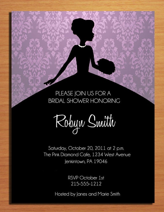 Customized Printable Purple Damask and Silhouette Bridal Shower Invitations /  DIY