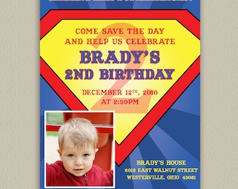 Superman Printable Birthday Party Invitation with Photo Options