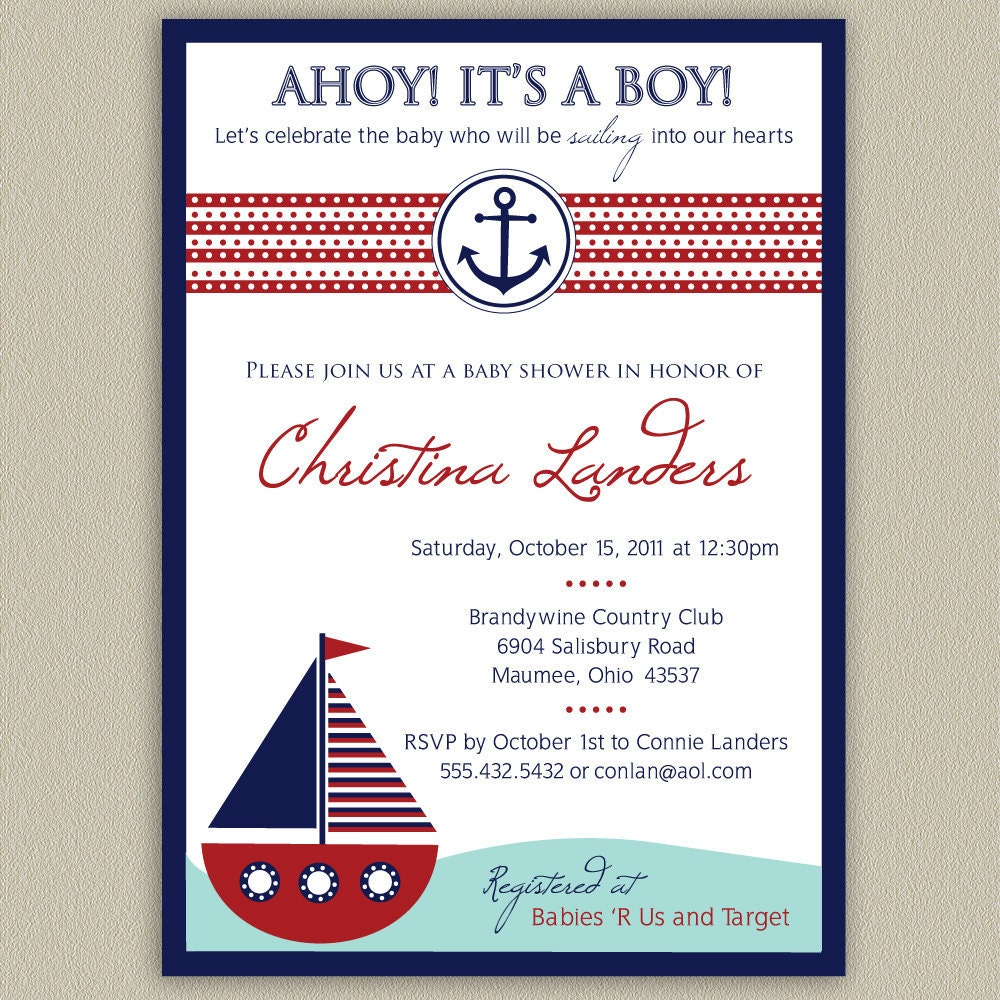 Baby Shower Invitations Wording For Boys: Ahoy It's A Boy Nautical Baby Shower Invitation By