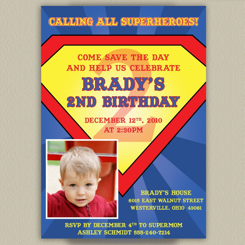 Superman Printable Birthday Party Invitation with Photo – Superman Birthday Party Invitations