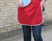 Red apron with blue polkadot heart pocket and white binding - women's half apron