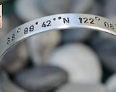 Personalized Handstamped Bracelet Custom Aluminum Bangle Cuff - Latitude and Longitude