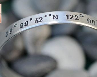 Personalized Hand Stamped Bracelet Custom Aluminum Bangle Cuff - Latitude and Longitude