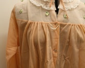 1960'S * RETRO *  peach bed jacket cardigan top, lace, floral cape * GRANNY CHIC *