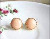Peach Gold Studs Gold Peach Earrings Gold Peach Button Stud Post Earrings 18K Gold Plated Studs Elegant Dainty Chic - Alegria