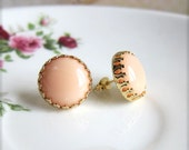Gold Peach Earrings, Gold Blush Earrings, Gold Stud Earrings, Peach Pink Bridesmaids Gift, Bridal Jewelry, Coral Pink Wedding Earrings