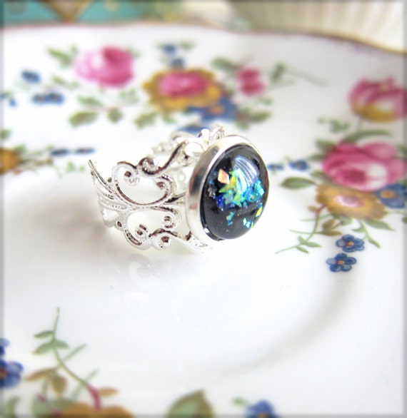Onyx Black Ring Silver Filigree Ring Black Glass Ring Fire Opal Style Ring Vintage Inspired Ring Lord of the Rings - Moldovia