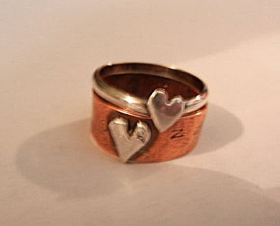 Rom. 13:9 Guy Girl Matching Heart Love Rings, Fine Silver Stacker Ring,Copper with Matching Silver Heart, Thumb Rings or Any Finger Rings
