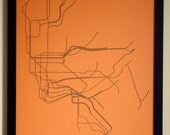 New York City Typographic Transit Map Poster (Orange)