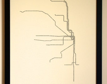 Chicago Typographic Transit Map Poster