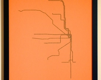 Chicago Typographic Transit Map Poster (Orange)