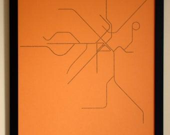 Boston Typographic Transit Map Poster (Orange)
