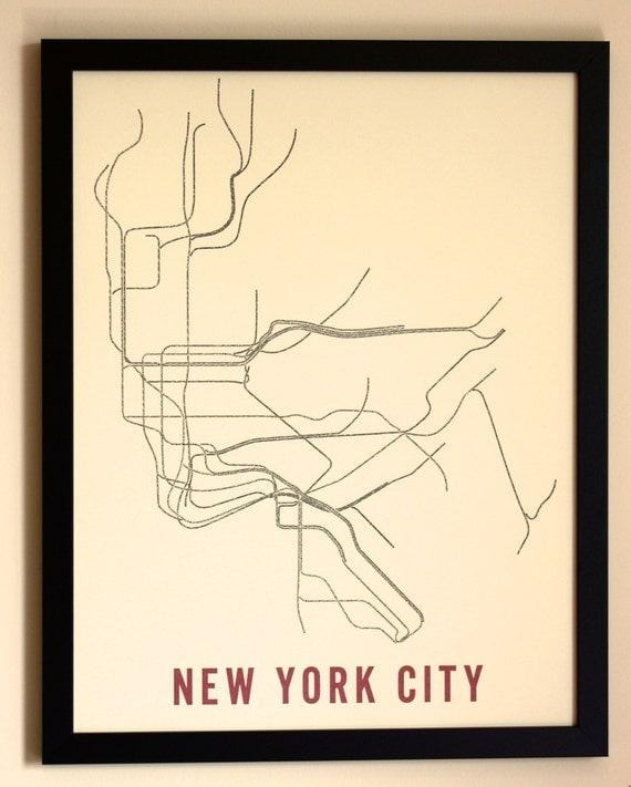 New York City Typographic Transit Map Poster