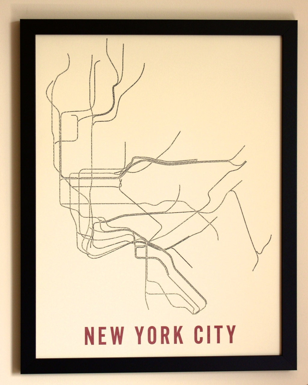 New York City Typographic Transit Map Poster - Nyc map art