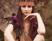Festival feather headband, feather crown, feathered headdress