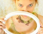 fiber necklace spring fashion jewelry First Butterflys - linen, silk, glas beads, spring garden necklace