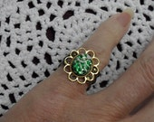 Green and White Adjustable Pinky Ring
