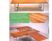 Solid cherry modern coffee table and 2 end tables with hairpin legs