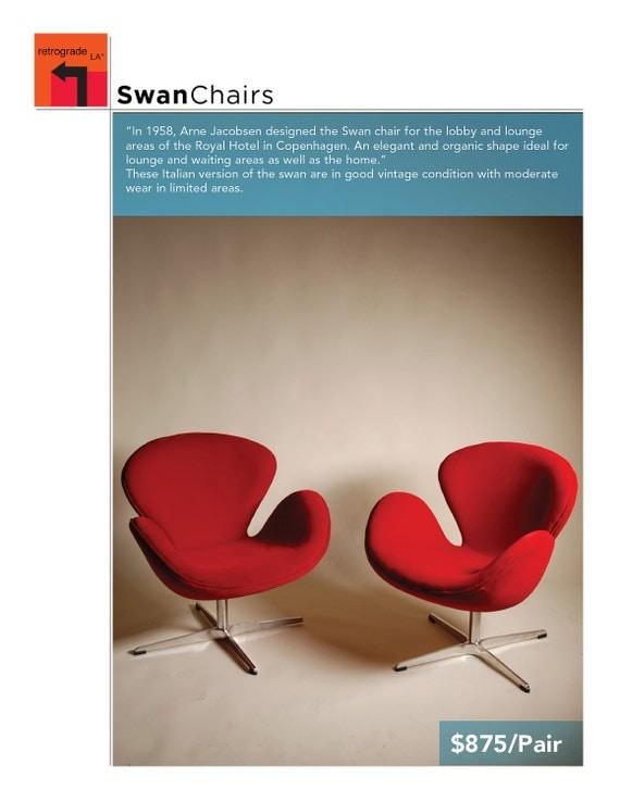 A Pair of Arne Jabobsen Swan Chairs in Red Velvet