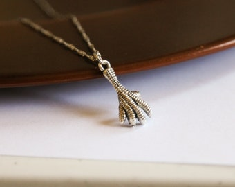 Chicken Foot Claw Necklace- Silver Charm- Chicken Little- 925 Sterling Silver Chain