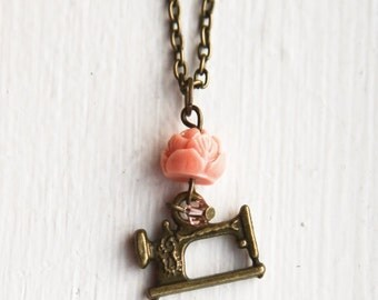 Sewing Machine Necklace- Bronze Vintage Style- Peachy Pink- Custom Resin Flower Rose