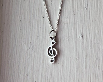 Tiny Treble Clef Music Symbol Necklace- Choose Necklace or Earrings- 925 Sterling Silver Chain- Charm Jewelry