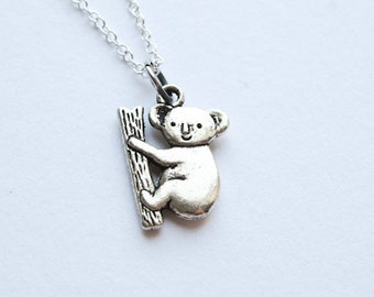 Koala Bear Necklace-  Australia - Cute Fuzzy Bear - Simple Charm Jewelry - 925 Sterling Silver or Silver tone Chain- Animal Pendant