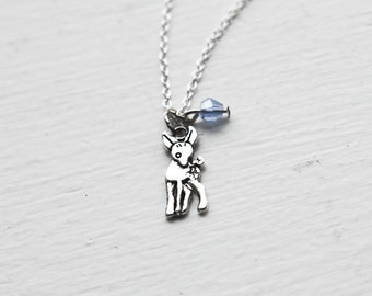 Deer Fawn Necklace- Custom Birthstone Jewelry- Sterling Silver or silver tone Chain- Mini Tiny Baby Deer- Bambi- Winter