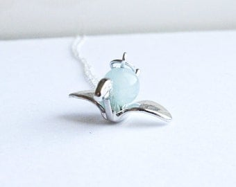 Origami Crane Necklace- Custom Wedding or Bridal Party Gifts- 925 Sterling Silver or silver Tone Chain- Aquamarine, Pearl