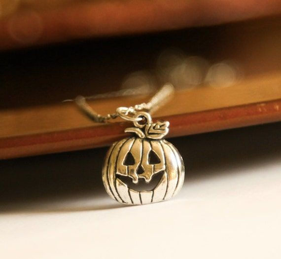 Pumpkin Autumn Necklace- Cute Halloween Jack-O-Lantern- Silver Charm Jewelry- 925 Sterling Silver Chain