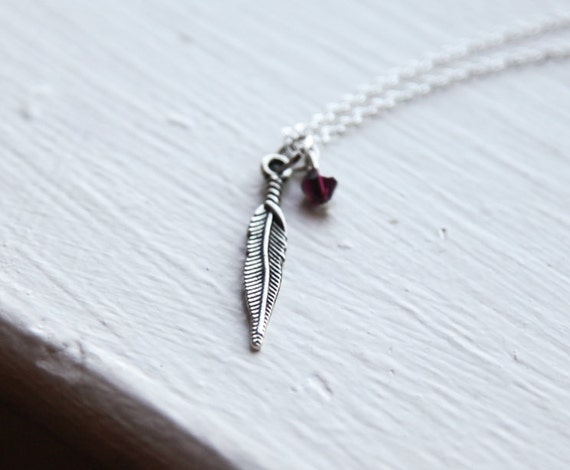Feather Necklace- Birthstone Colors- 925 Sterling Silver Chain- Charm Jewelry Crystal- Birds Feather