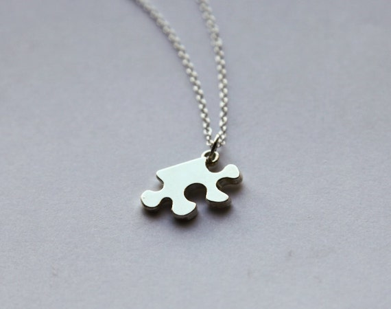 Puzzle Piece Necklace- Charm Jewelry- Minimalistic- Unique Gifts- Last Minute- Funny