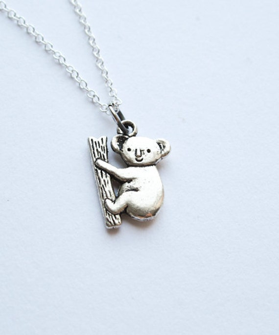 Koala Bear Necklace-  Australia - Cute Fuzzy Bear - Simple Charm Jewelry - 925 Sterling Silver Chain- Animal Pendant