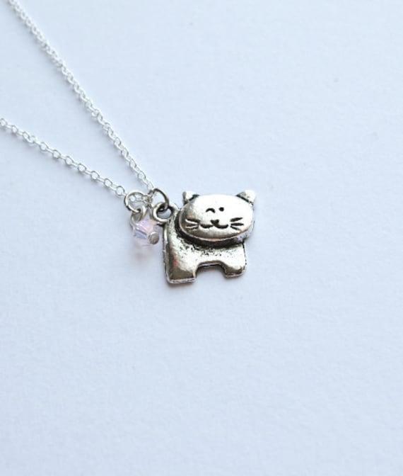 Kitty Cat Necklace- Swarovski Crystal Bead -925 Sterling Silver Chain- Charm Jewelry- Custom Birthstone