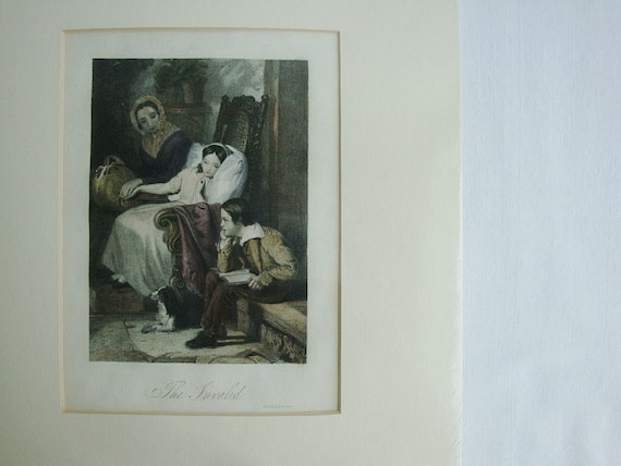RESERVED for H. Victorian Engraved Print  The Invalid