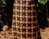 Vintage maxi skirt orange and black 1960s 1970s metallic fabric skirt by Peter Barron