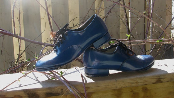 Vintage childs shoes blue leather tap shoes 1960s deep blue leather by Johnny Brown