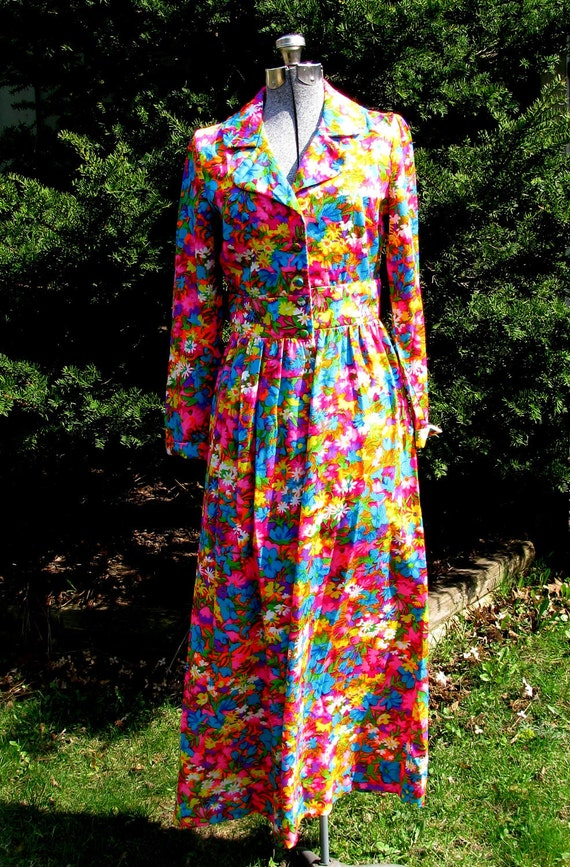 Vintage Maxi Dress 1970s psychedelic floral long sleeve cotton poly Psychedelic Diva Dream